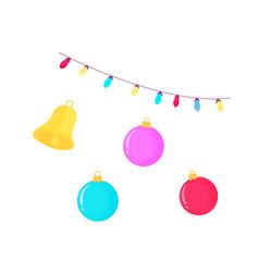 christmas balls bell and garland vector image