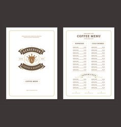 coffee menu design template flyer for cafe vector image