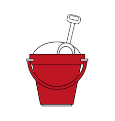 Color silhouette image red bucket with sand and vector