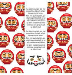 colorful japanese daruma dolls poster vector image