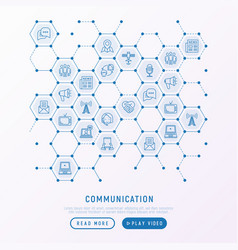 Communication concept in honeycombs vector