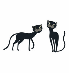 cute cartoon set black panther isolated on white vector image