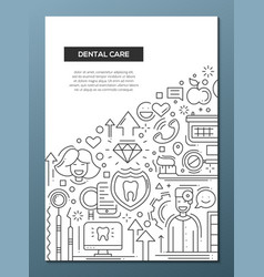 Dental care - line design brochure poster template vector