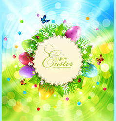 Easter background with a round card for text vector
