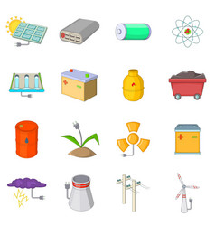 Energy sources items icons set cartoon style vector