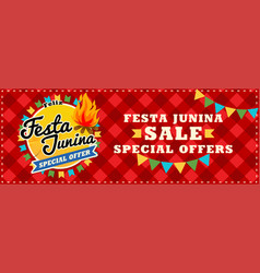 festa junina sale poster beautiful vector image