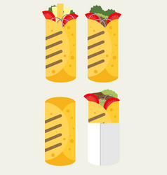 Flat design burrito icon vector