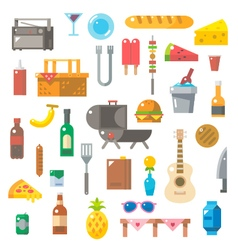 Flat design of picnic items set vector image