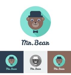 Flat modern minimalistic toy bear logo vector