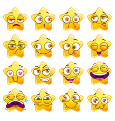 Funny cartoon yellow star character stickers vector
