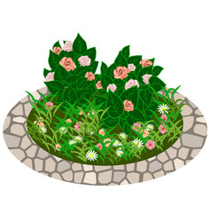 garden flowers asset bushes and flowers vector image