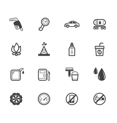 gas station element black icon set on white bg vector image