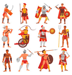 Gladiator roman warrior character in armor vector
