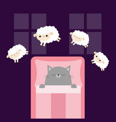 Gray cat sleeping jumping sheeps cant sleep going vector