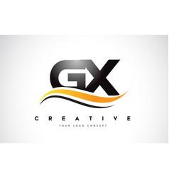 Gx g x swoosh letter logo design with modern vector