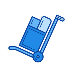 hand cart line icon vector image