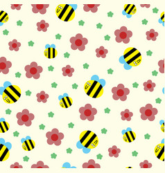 happy bee and red flowers seamless pattern vector image