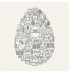Happy Easter Line Icons Set Egg Shape vector image