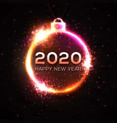 happy new year 2020 neon light xmas decoration vector image