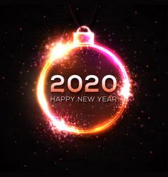 happy new year 2020 neon light xmas decoration vector image