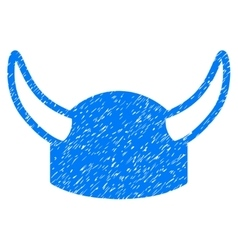 Horned Helmet Grainy Texture Icon vector image