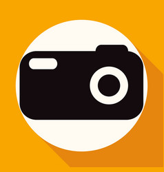 icon camera on white circle with a long shadow vector image