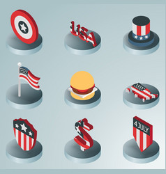 Independence day color isometric icons vector