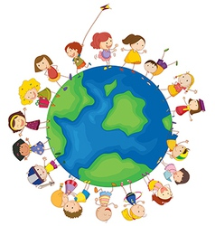 Kids around the globe vector image