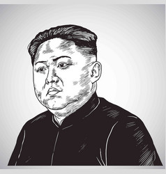 Kim jong un portrait hand drawn drawing cartoon vector