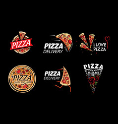 Logo of a sketched pizza on vector