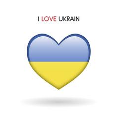 love ukrain symbol flag heart glossy icon vector image