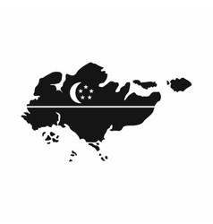 Map of Singapore with flag icon simple style vector