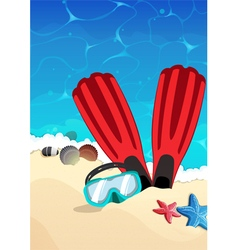 Mask and flippers on the beach vector