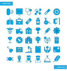 medical and healthcare blue icons set style vector image