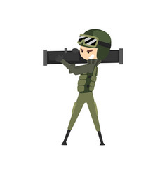 Military man with bazooka soldier character in vector
