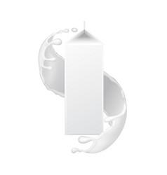 Milk packaging carton box in splash vector
