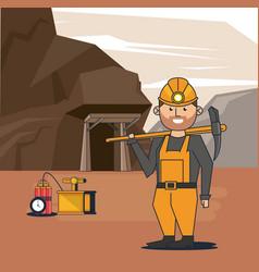 Mining worker cartoon vector