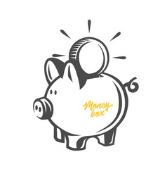 money box black and white objects vector image
