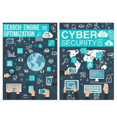 Online cyber security and seo posters vector