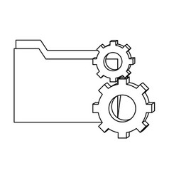 Outline folder file and industry gears process vector