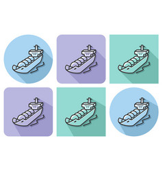 outlined icon of gas tanker with parallel and not vector image