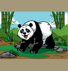 Panda cartoon in the bamboo forest vector