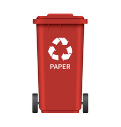paper garbage wheel box mockup realistic style vector image