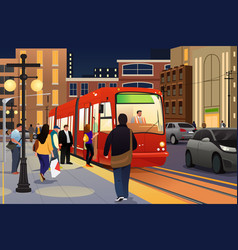People riding and boarding a street car vector