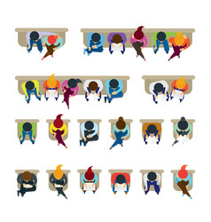 people sitting on chairs vector image