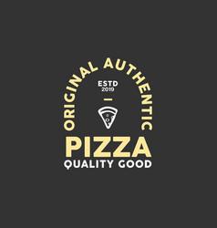 pizza emblem logo design vector image