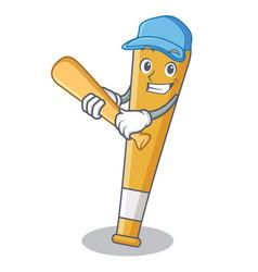 playing baseball baseball bat character cartoon vector image