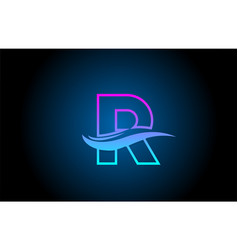 R blue and pink alphabet letter logo icon for vector