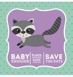 raccoon animal baby shower card icon vector image