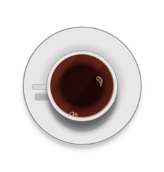 Realistic white cup of coffee with saucer vector